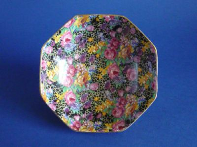 Unusual Grimwades Royal Winton 'Hazel' Chintz Octagonal Dish #1  c1935